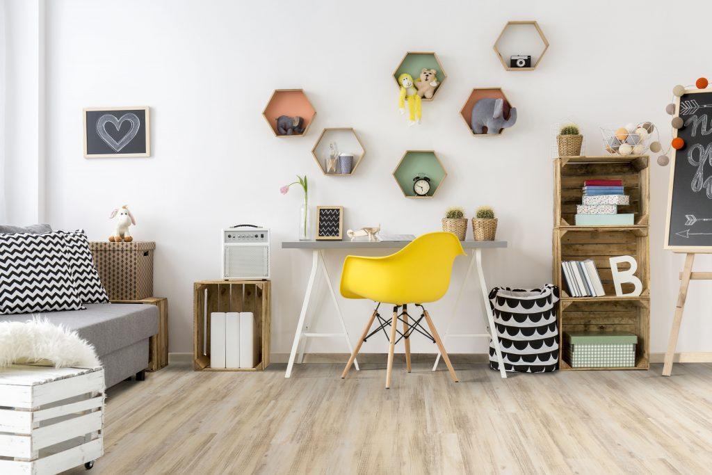 floor tiles Room in scandinavian style